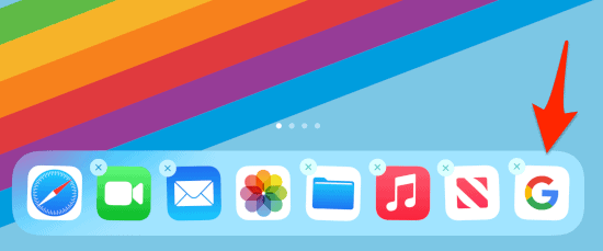 a new App added to the iPad Dock