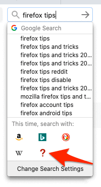 the Firefox search bar with a newly added search engine