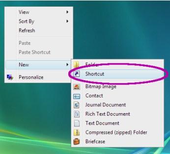 new desktop shortcut in vista