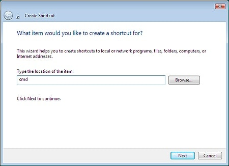 first step in the create shortcut wizard