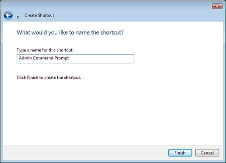 second step in the create shortcut wizard