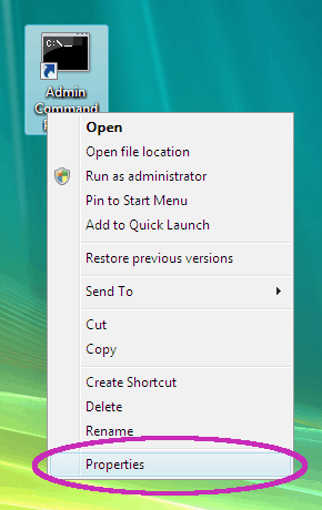 selecting the desktop shortcut properties