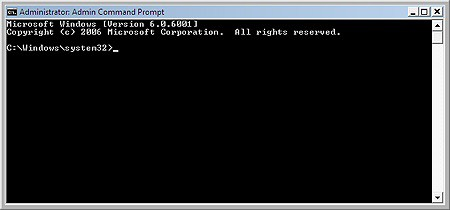 the command prompt running as administrator