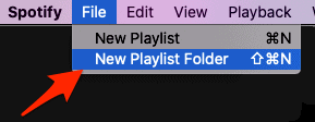 the File menu in the Spotify desktop client