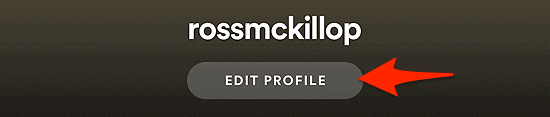 the Spotify Edit Profile button