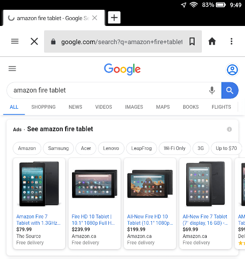 search results on the amazon fire