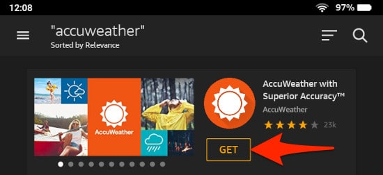 a search on the Amazon AppStore for the word accuweather