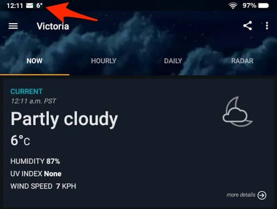 the weather displayed in an Amazon Fire status bar