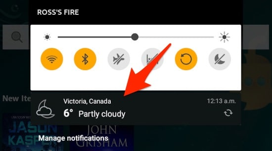 weather in the Notifications Panel on the Amazon Fire