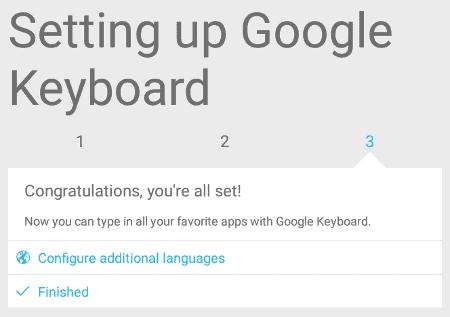 google keyboard wizard finish screen
