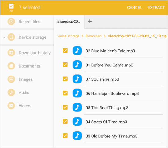 an Android file manager a copy of the music files