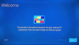 TVLauncher setup screen