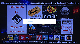the hotboxz tv launcher home screen with an update being installed