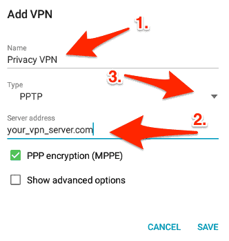 VPN Configuration details on Android