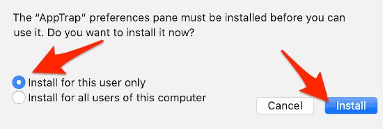 installing AppTrap in macOS