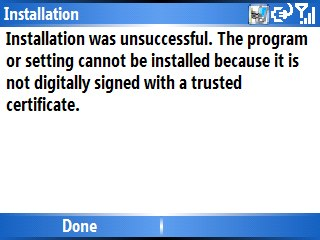 installation was unsuccessful the program or setting cannot be installed because it is not digitally signed with a trusted certificate