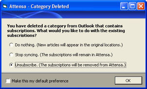 attensa for outlook unsubscribe options