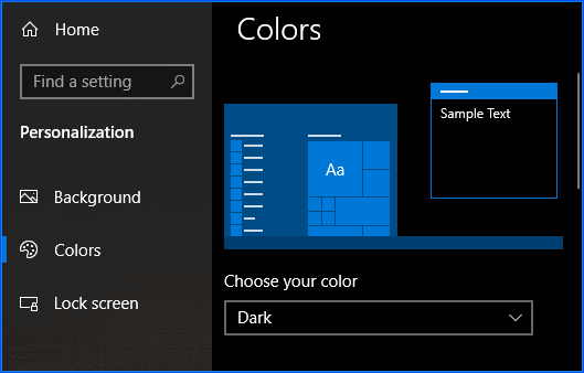 windows 10 dark mode settings