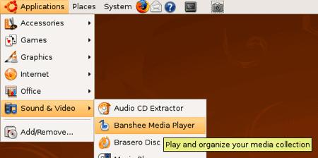 sound and video menu in ubuntu