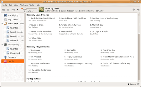 last.fm section of the banshee media player