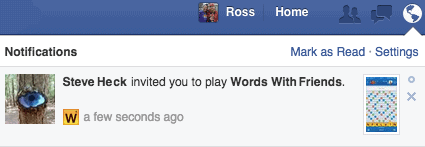 screenshot of a Facebook Game request