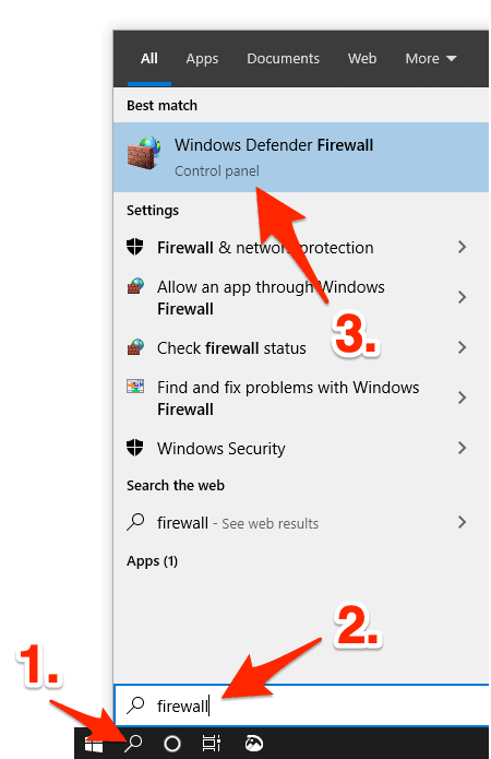 windows start menu with firewall as the search term