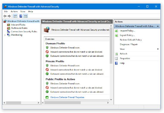 advanced section of the Windows 10 Firewall control panel window