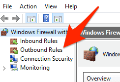 outbound rules highlighted in the advanced section of the Windows 10 Firewall
