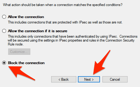 the fourth screen in the Windows 10 Firewall outbound rules wizard