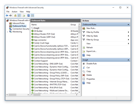 the Advanced Outbound Windows Firewall Settings window