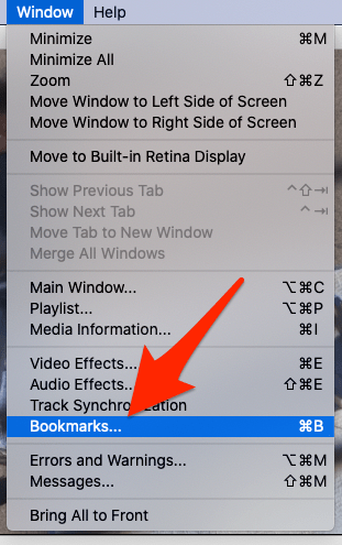 VLC window menu with bookmarks highlighted in macOS