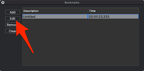 adding a bookmark in VLC for macOS