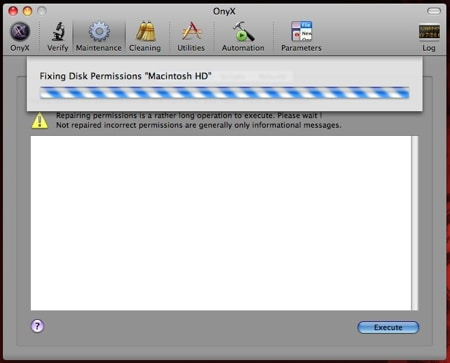 onyx repairing disk permissions