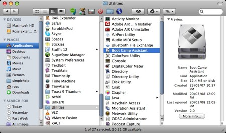 finder displaying the boot camp utility