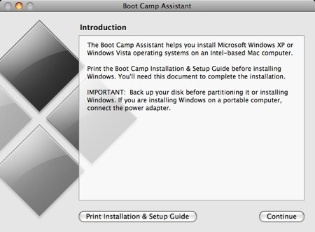 boot camp assistant introduction screen