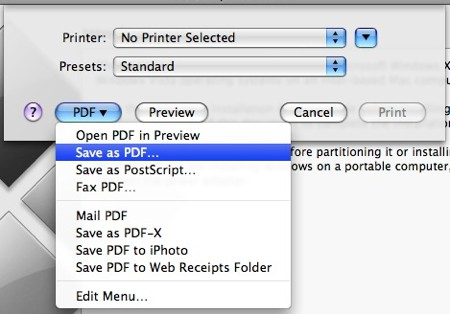 saving the boot camp instructions as a pdf