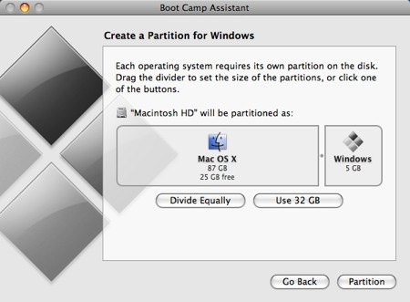create a partition section of the boot camp assistant