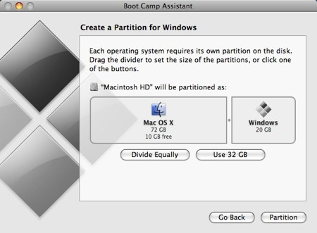 create a partition section of the boot camp assistant with 20gb dedicated to windows