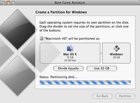 boot camp assistant partitioning a drive