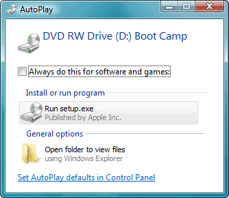 autorun boot camp setup.exe