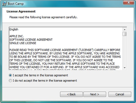 agreeing to the apple license agreement for the windows boot camp software