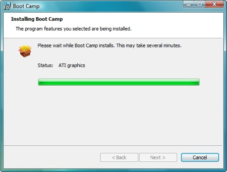 boot camp installer doing its thing but this time its almost done