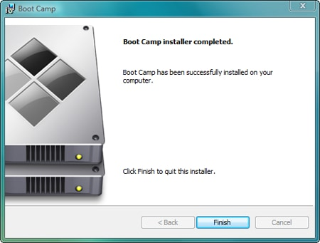 boot camp installer says its finished