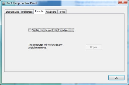 boot camp control panel for windows showing the remote tab