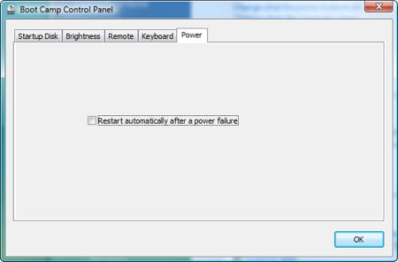 boot camp control panel for windows showing thepower tab