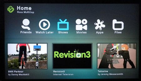 the boxee box home screen