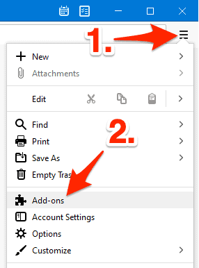 the Thunderbird menu button with the list expanded