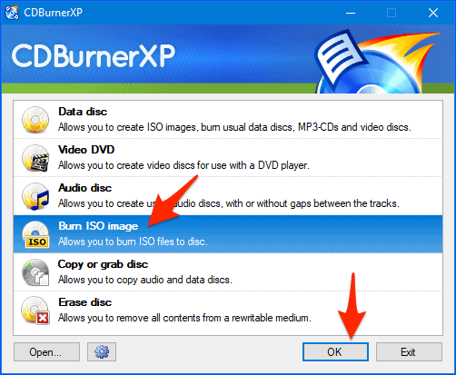 the CDBurnerXP startup screen