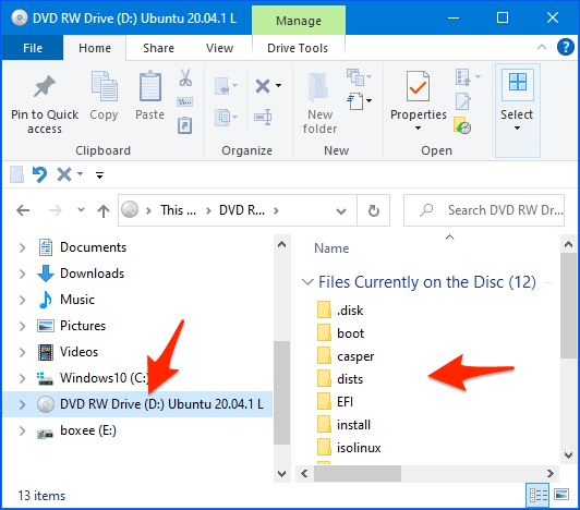 a Windows Explorer window with a DVD in a dvd drive