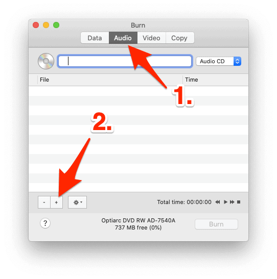 the main Burn interface with an arrow pointing to the Audio tab